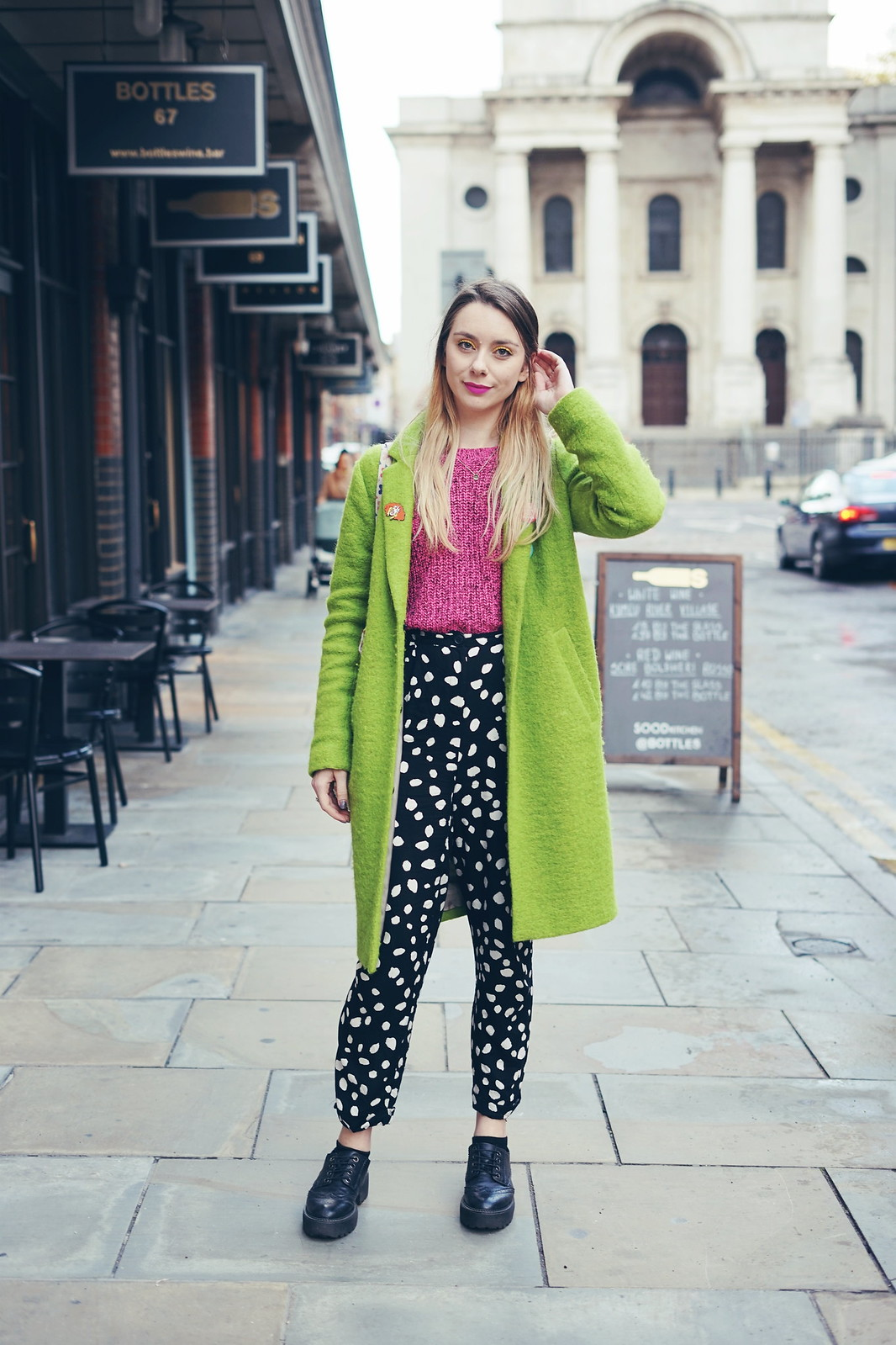 Green Coat, Sasha Velour Pin and Collusion spotty trousers