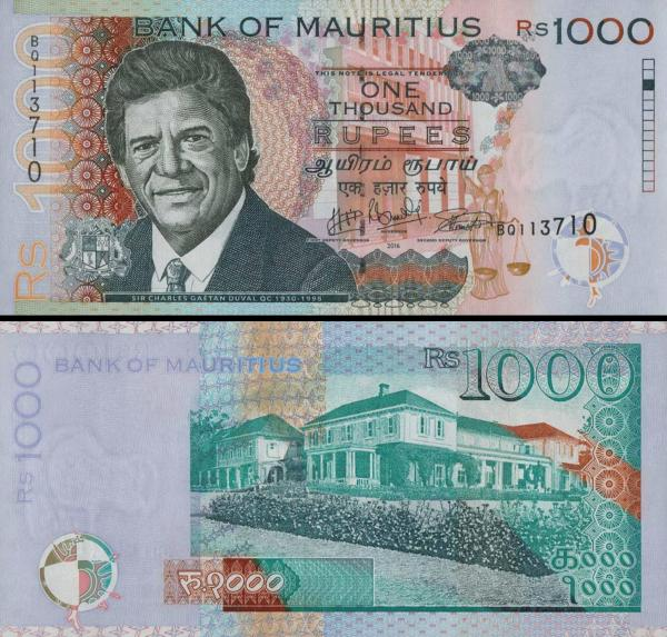 1000 Rupií Maurícius 2016-18, P63
