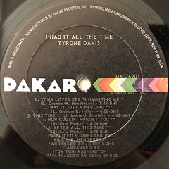 TYRONE DAVIS:I HAD IT ALL THE TIME(LABEL SIDE-A)
