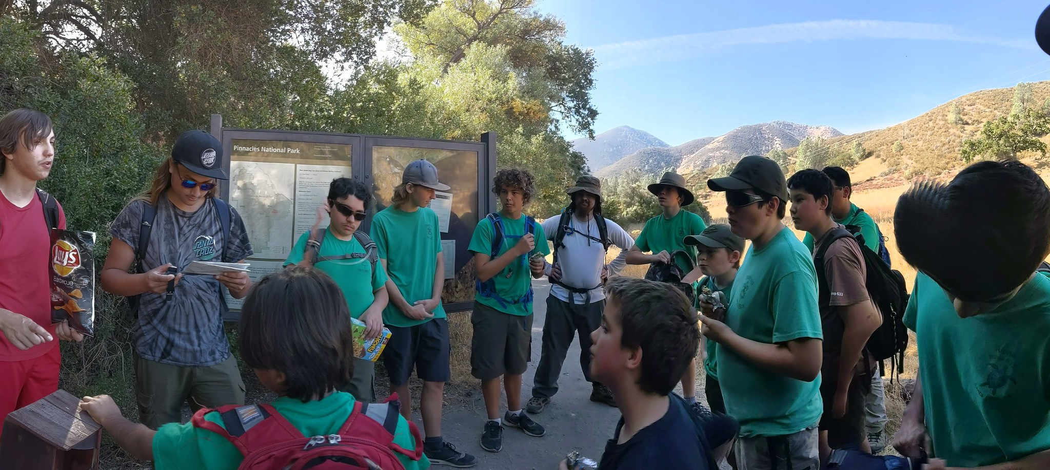 Troop 633 entering Pinnacles National Park