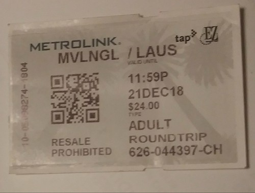 Metrolink rail ticket, Southern California, there is a chip/QR code embedded in the ticket, allowing it to be scanned for free local transit on most area systems