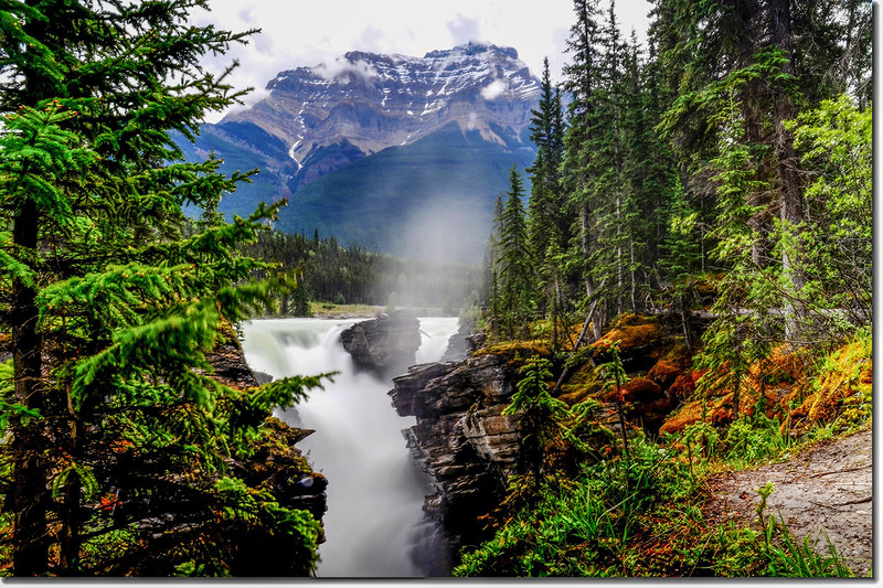 Athabasca Falls with Mount Kerkeslin as a Backdrop (Jasper National Park) 3