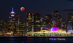 Lunar Eclipse over Downtown Vancouver, 20 January 2019