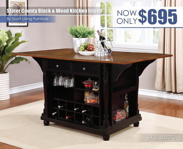 Slater County Black and Wood Kitchen Island_Scott Living_102270