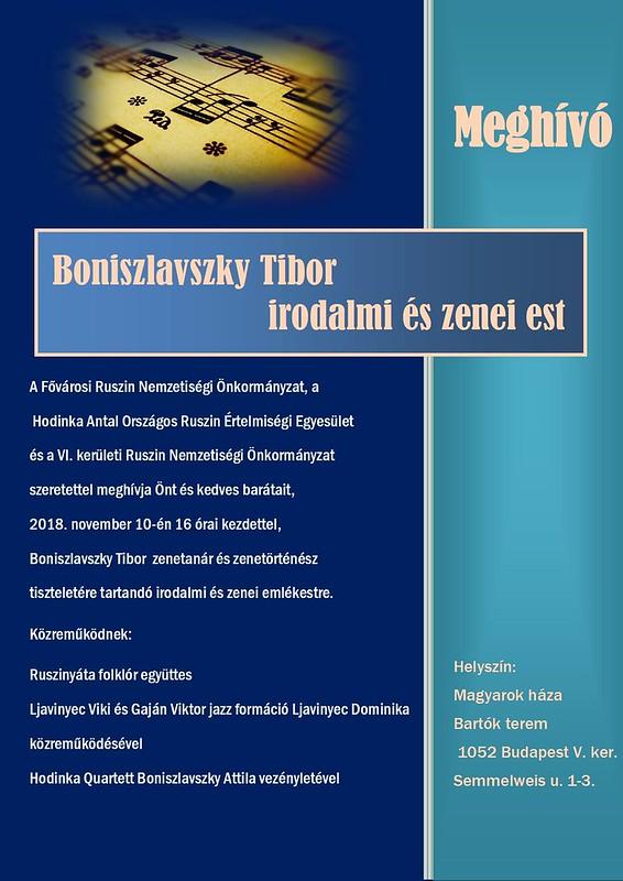 Boniszlávszky Tibor irodalmi és zenei est