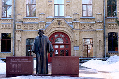 Monument to Dmitry Mendeleev creator of the periodic table-chemical elements. Polytechnical Institute. Kyiv. Ukraine.