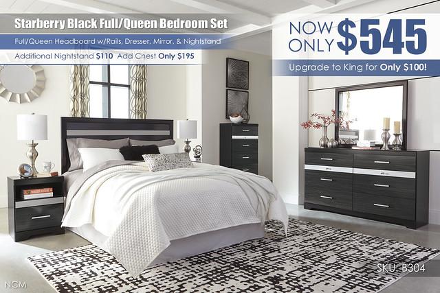 Starberry Black Full or Queen Bedroom Set_B304-31-36-46-57-B100-31-91-Q256