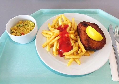 Cordon bleu with french fries & couscous salad / Cordon bleu mit Pommes Frites & Coucous-Salat
