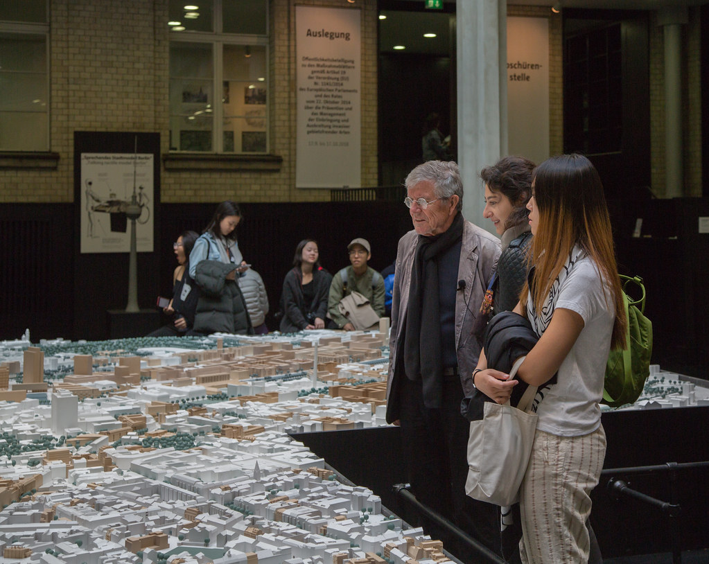 Professor Werner Goehner and students view a city model in Berlin during a Cornell in Rome class trip.   photo / Sahir Choudhary (B.Arch. '21)