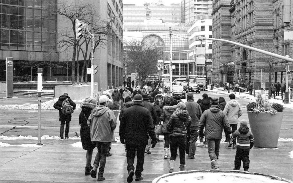 Crossing Bay St. at the Eaton Centre