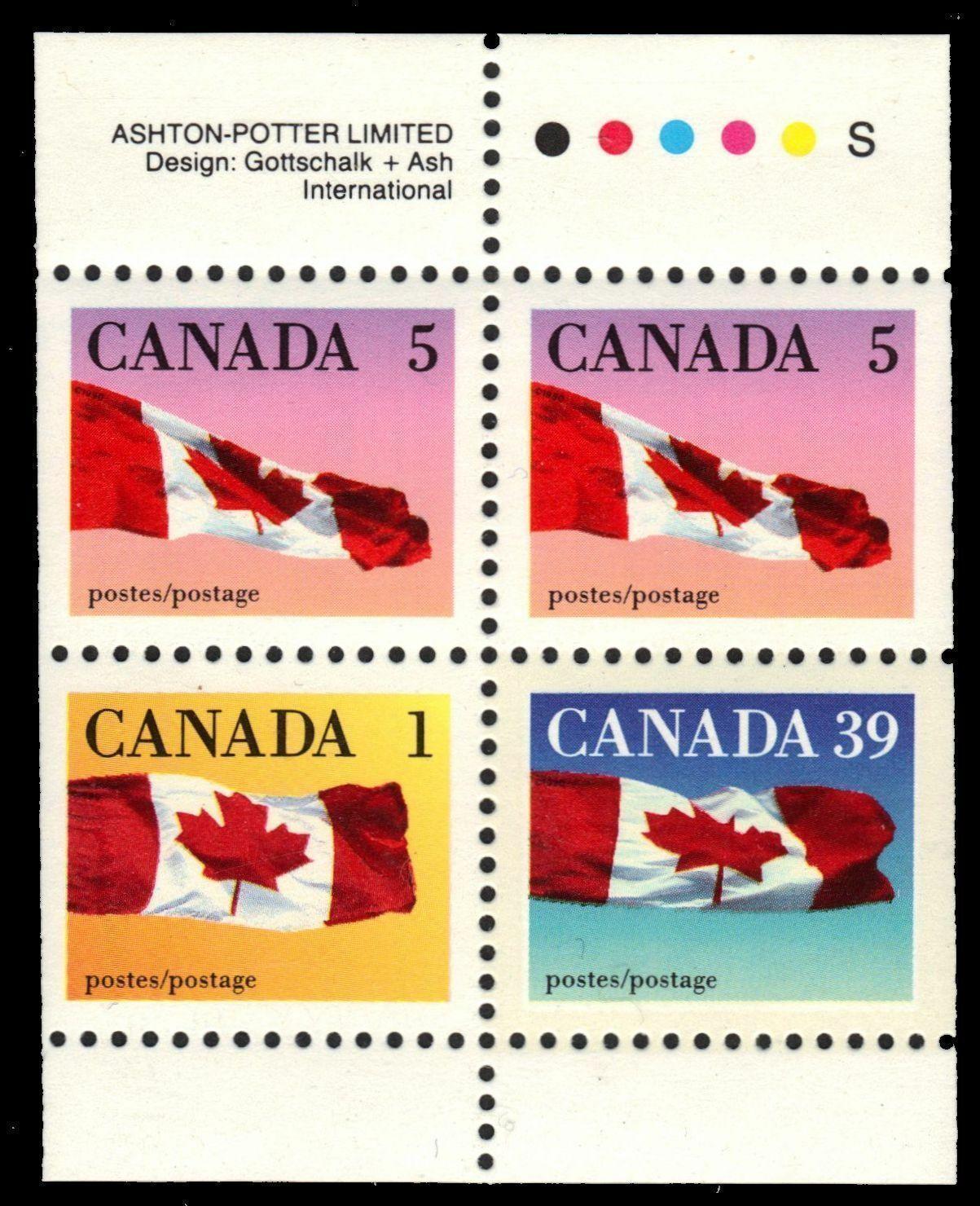 Canada - Scott #1189c (1990) booklet pane of 4