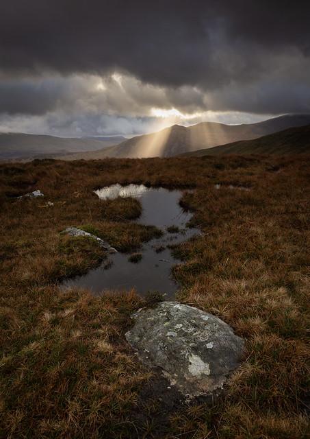 Crepuscular rays over Gallt yr Ogof - Snowdonia - Wales