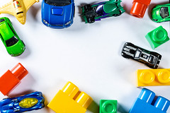 Children's cars and details of the designer of different colors