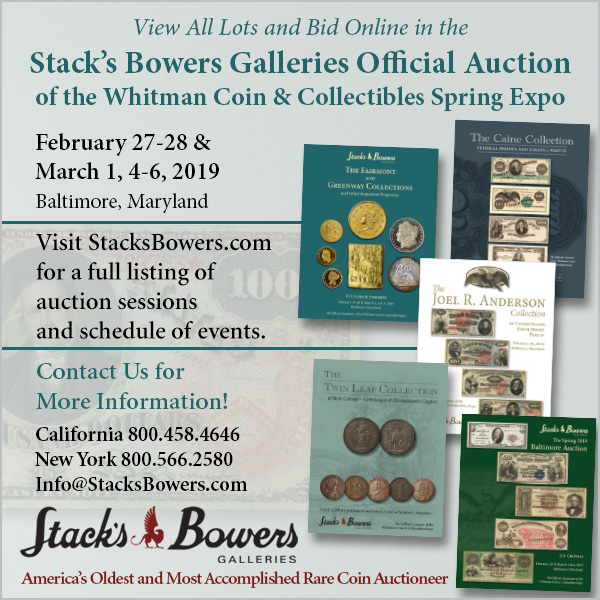 Stacks-Bowers E-Sylum ad 2019-02-03