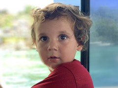 Sawyer on the trip today back to Nusa Lembongan for our second visit
