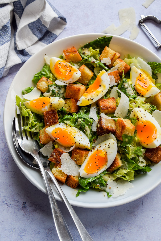 Cheats Caesar Salad with Leftover Bread Croutons