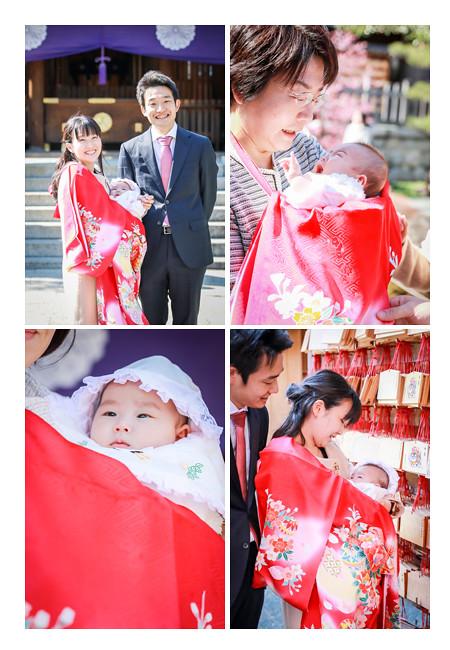 赤いお着物 女の子赤ちゃん お宮参り