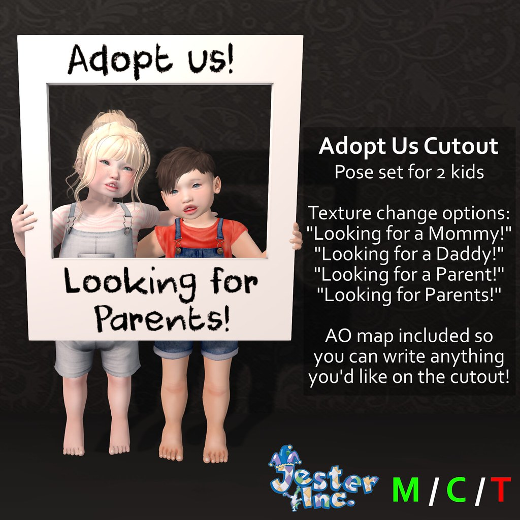 Presenting the Adopt Us Cutout from Jester Inc.