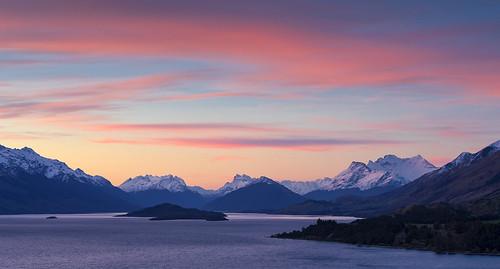 Sunset, Lake Wakatipu from Bennett's Bluff, Queenstown, New Zealand