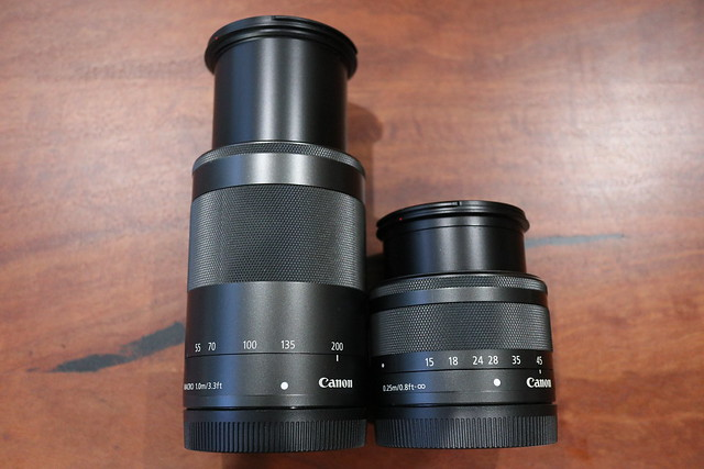 CANON EF-M 55-200MM next to CANON EF-M 15-45MM