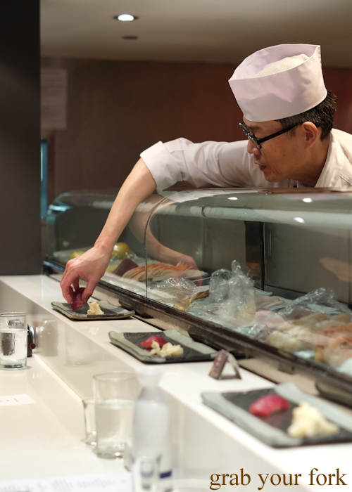 Chef Toshihiko Oe serving wild southern bluefin tuna at his omakase at Masuya in Sydney