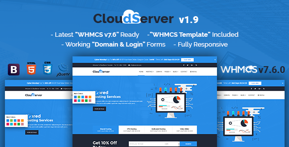 CloudServer v1.9 - Responsive HTML5 Technology, Web Hosting and WHMCS Template