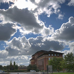 Clouds over Preston Docks buildings