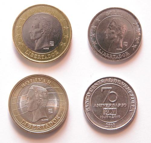 Monedas de Bolívar de Venezuela.