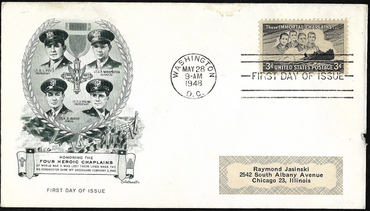 United States - Scott #956 (1948) first day cover, Artmaster cachet