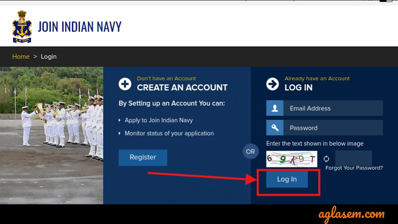 Indian Navy Result August 2019 - Login page
