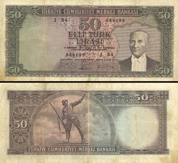 5 Türk Lirasi Turecko 1961-65, P175a