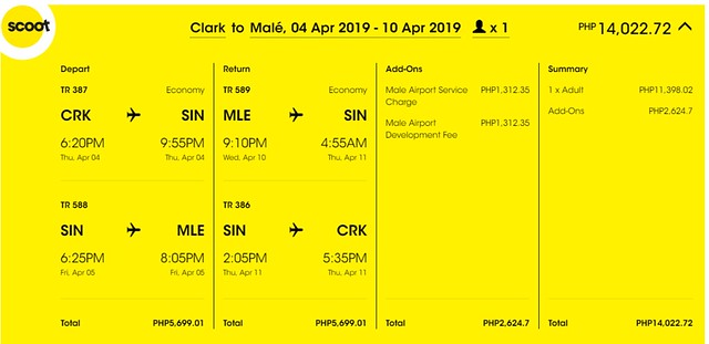 Scoot Clark to Maldives Roundtrip Promo