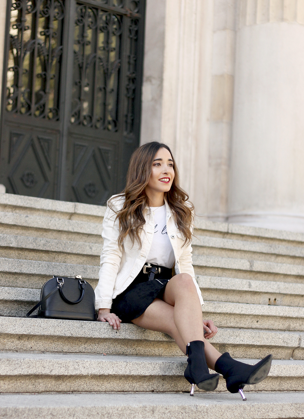 suede black skirt uterqüe ankle boots denim jacket louis vuitton bag street style outfit 20197