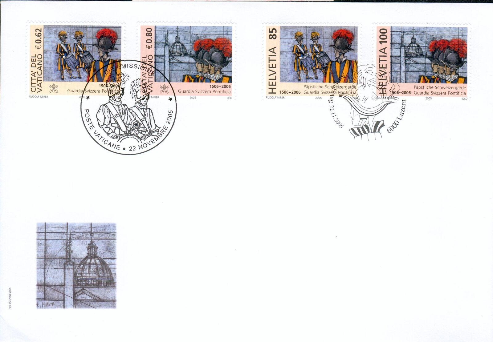 Vatican City - Scott #1315-1316 (2005) and Switzerland - Scott #1224-1225 (2005) first day cover