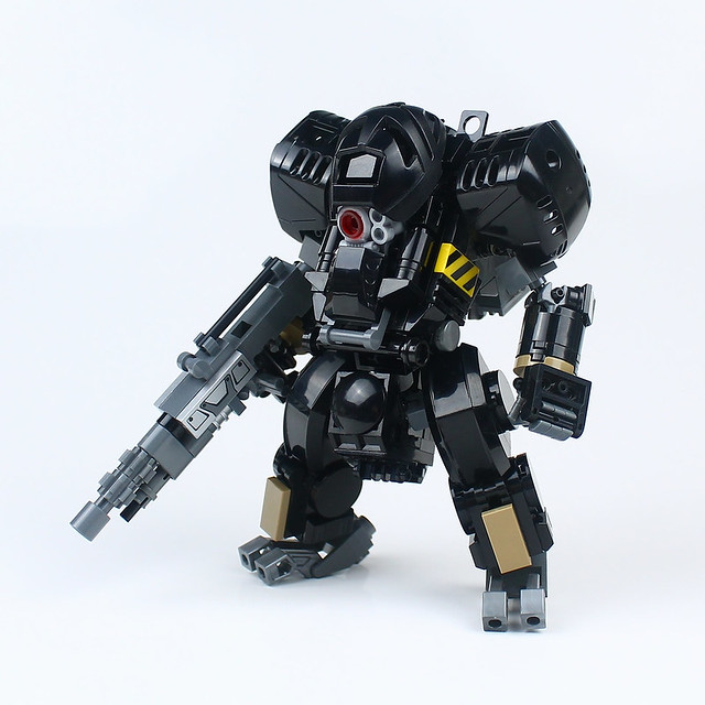 Black mecha hardsuit is ready to bring the hurt