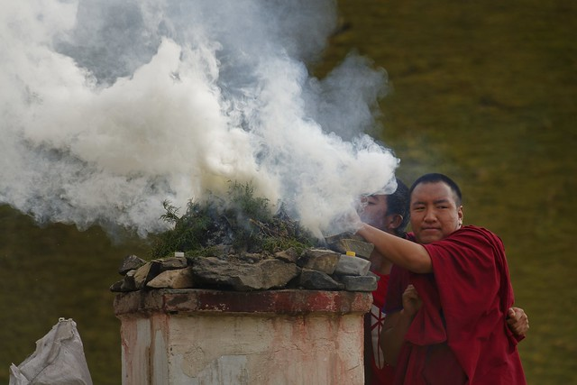 Burning incense, Tibet 2018