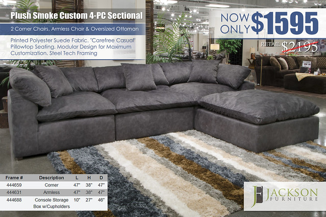 Plush Smoke 4PC Custom Sectional Jackson Furniture_4446