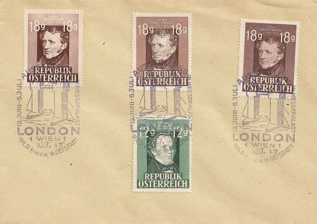 Austria - Scott #489 and 490 (March and June varieties), Scott #491 (1947) London exhibition cancel on piece
