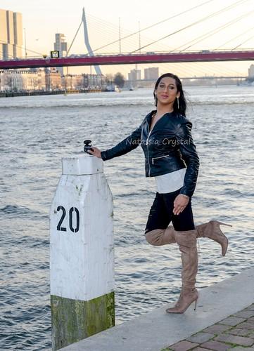Walking and posing along the river