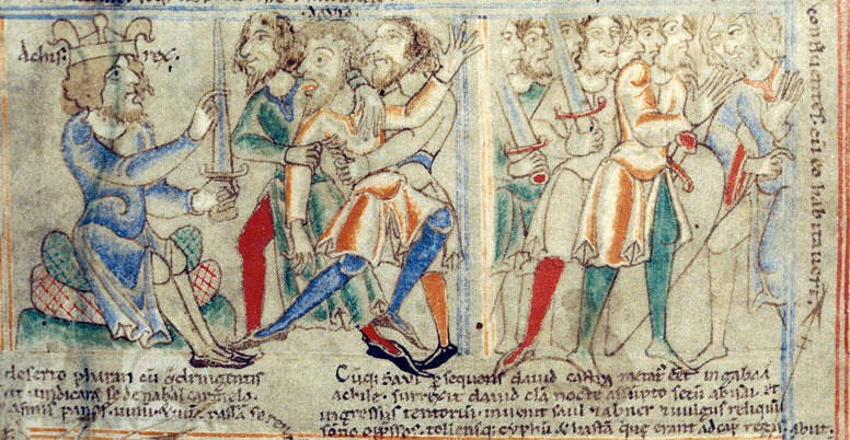 David-feigns-lunacy-before-Achich-Harding-Bible-12c-1