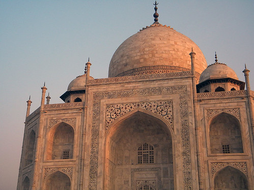 The Taj Mahal in Agra, India just after the sunrise has turned it all pink