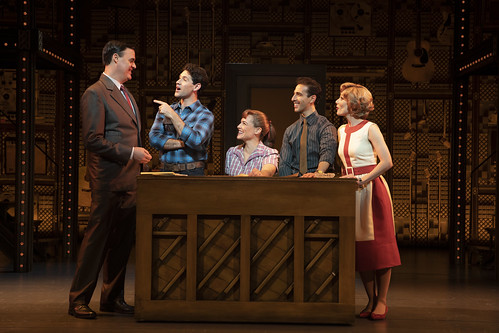 "1650 Broadway. (l to r) James Clow (""Don Kirshner""), Dylan S. Wallach (""Gerry Goffin""), Sarah Bockel (""Carole King""), Jacob Heimer (""Barry Mann"") and Alison Whitehurst (""Cynthia Weil""). From Why You Should See Beautiful–The Carole King Musical. Photo courtesy and copyright by Joan Marcus, used with permission"