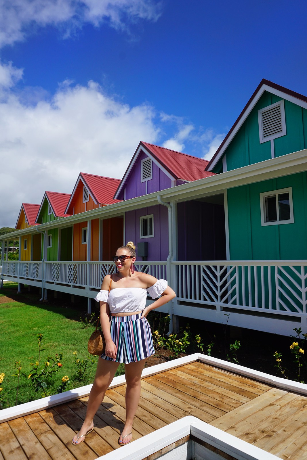 NoKa Fair Kapaa Kauai What to do in Kauai Hawaii Colorful Houses Rainbow Stores
