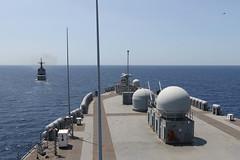 USS Blue Ridge (LCC 19) steams with BRP Ramon Alcaraz (FF 16), March 19. (U.S. Navy/MC2 Adam K. Thomas)