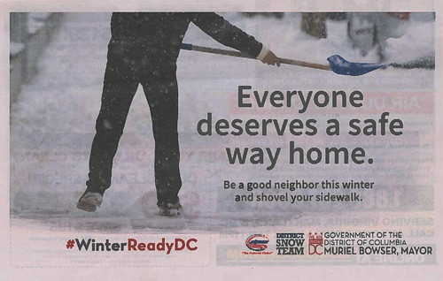 DC Department of Transportation ad in the Express promoting snow shoveling, 1/7/2019