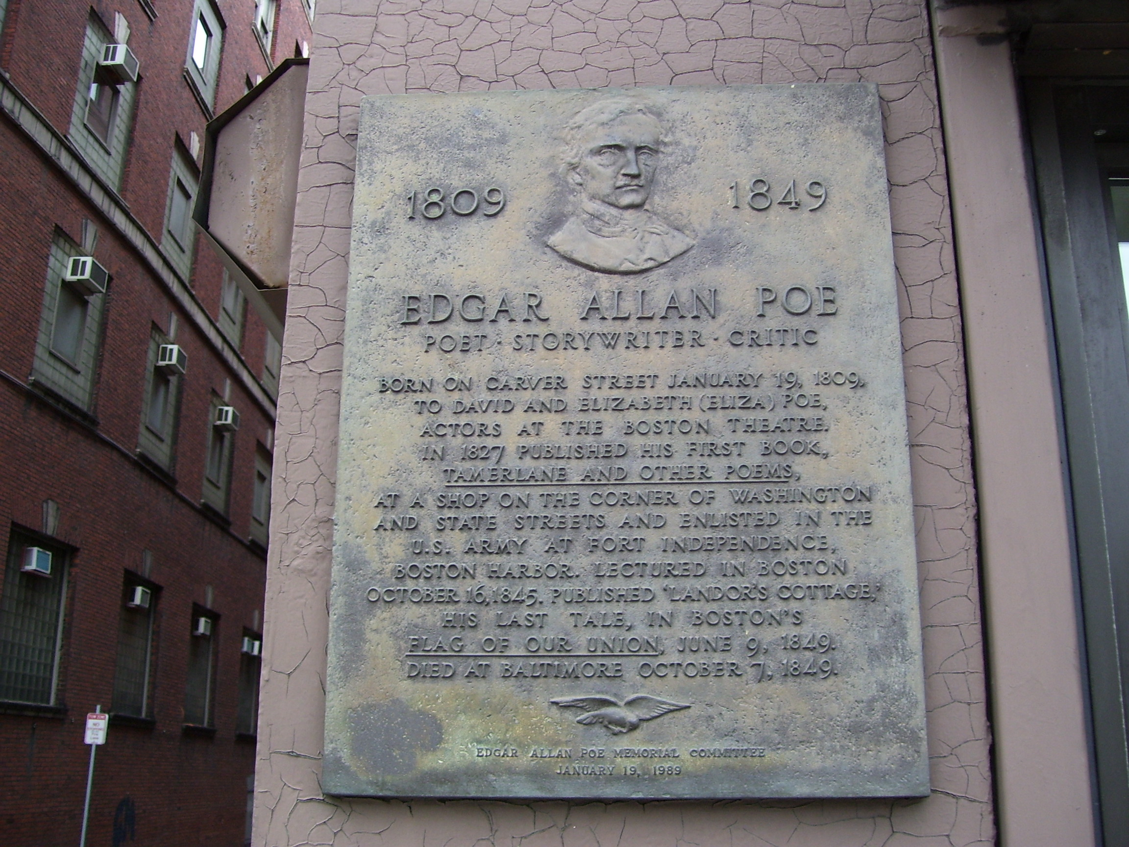 This plaque in Boston marks the approximate location where Edgar Allan Poe was born. Photo taken by <a href=