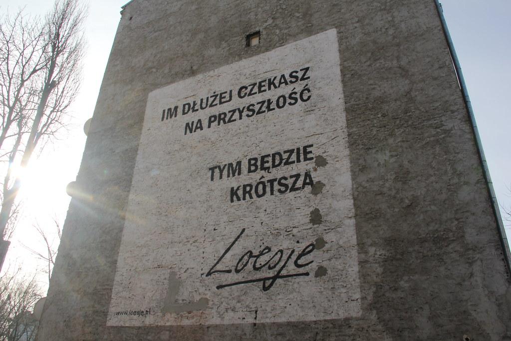 Philosophical ponderings by Loesje (street art, Warsaw)