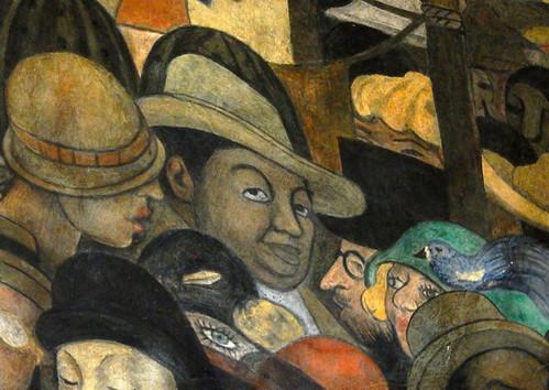 Self-portrait of Diego Rivera in one of his murals in the Secretaría de Educación Pública