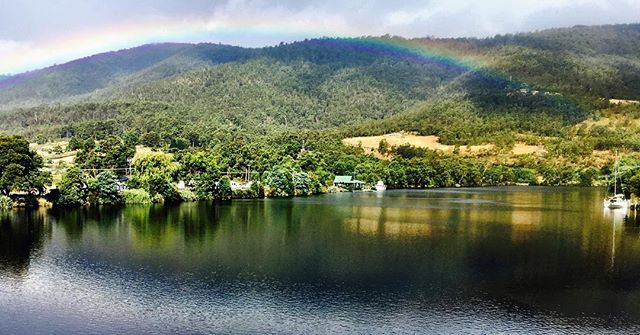 038/365 • brought the boat up to Huonville - we're basically repeating what we did two years ago, because... why not!? It's so lovely 😊 • . . #huonville #rainbow #rain #hooray #river #huonriver #huonvalley #sailing #boatlife #Summer2019 #gypsies #be