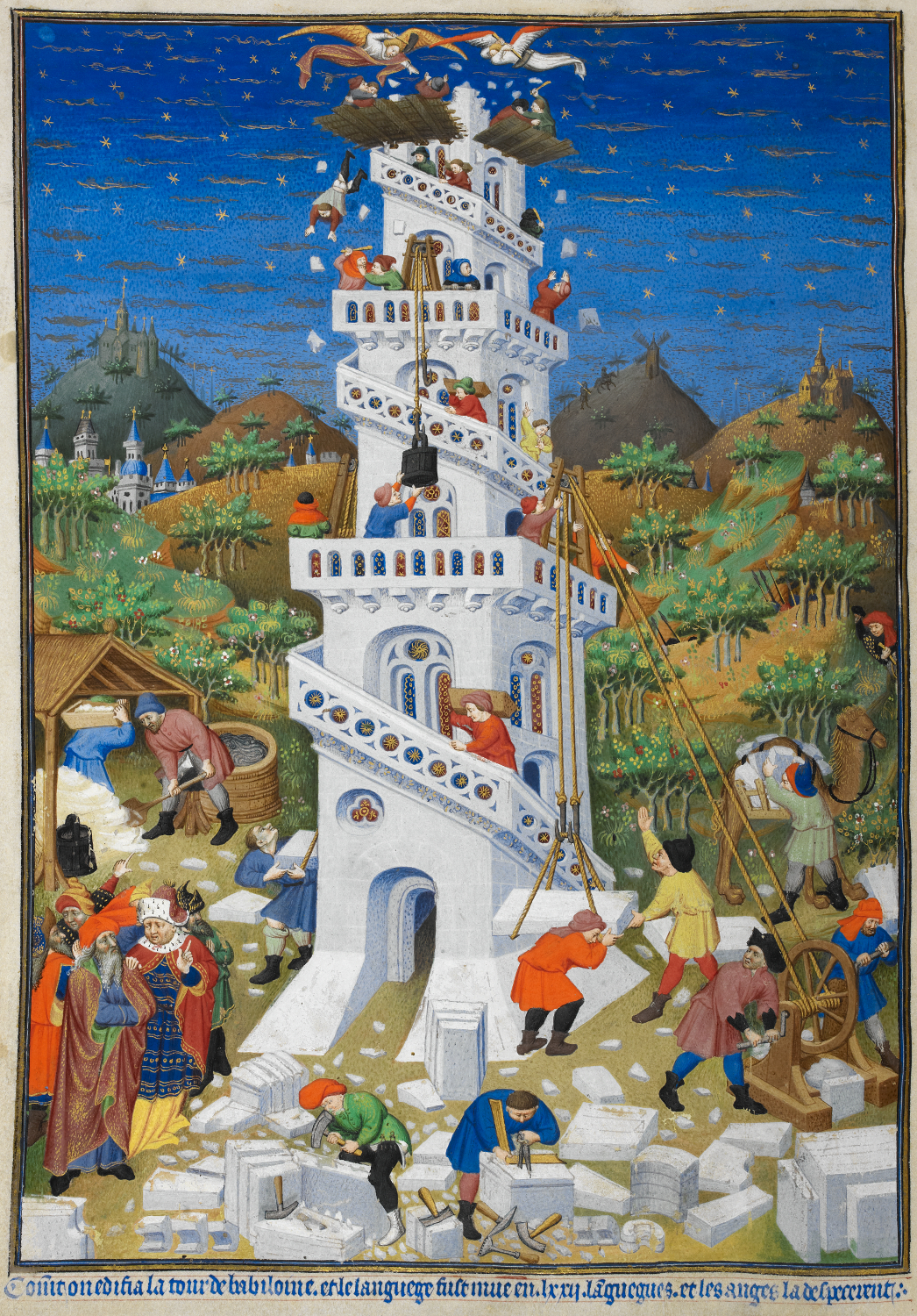 Building of the Tower of Babel; detail of a miniature from the